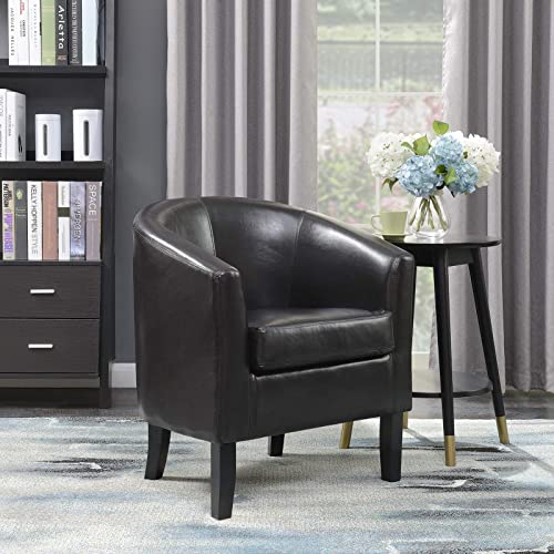 Belleze Modern Arm Club Chair Faux Leather Tub Barrel Style