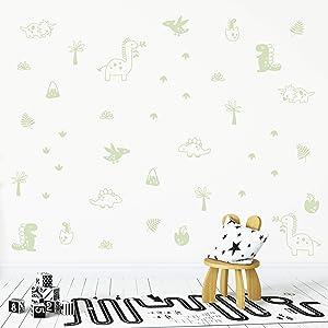 Wall VinylLight Green Dinosaur and Prehistoric Plants Decal 40 pcs. Nursery Decor, Original Artist Design. Adhesive Animals Sticker for Kids. Baby Nordic Dino Rex, Plants, Leaf Bedroom Decoration.