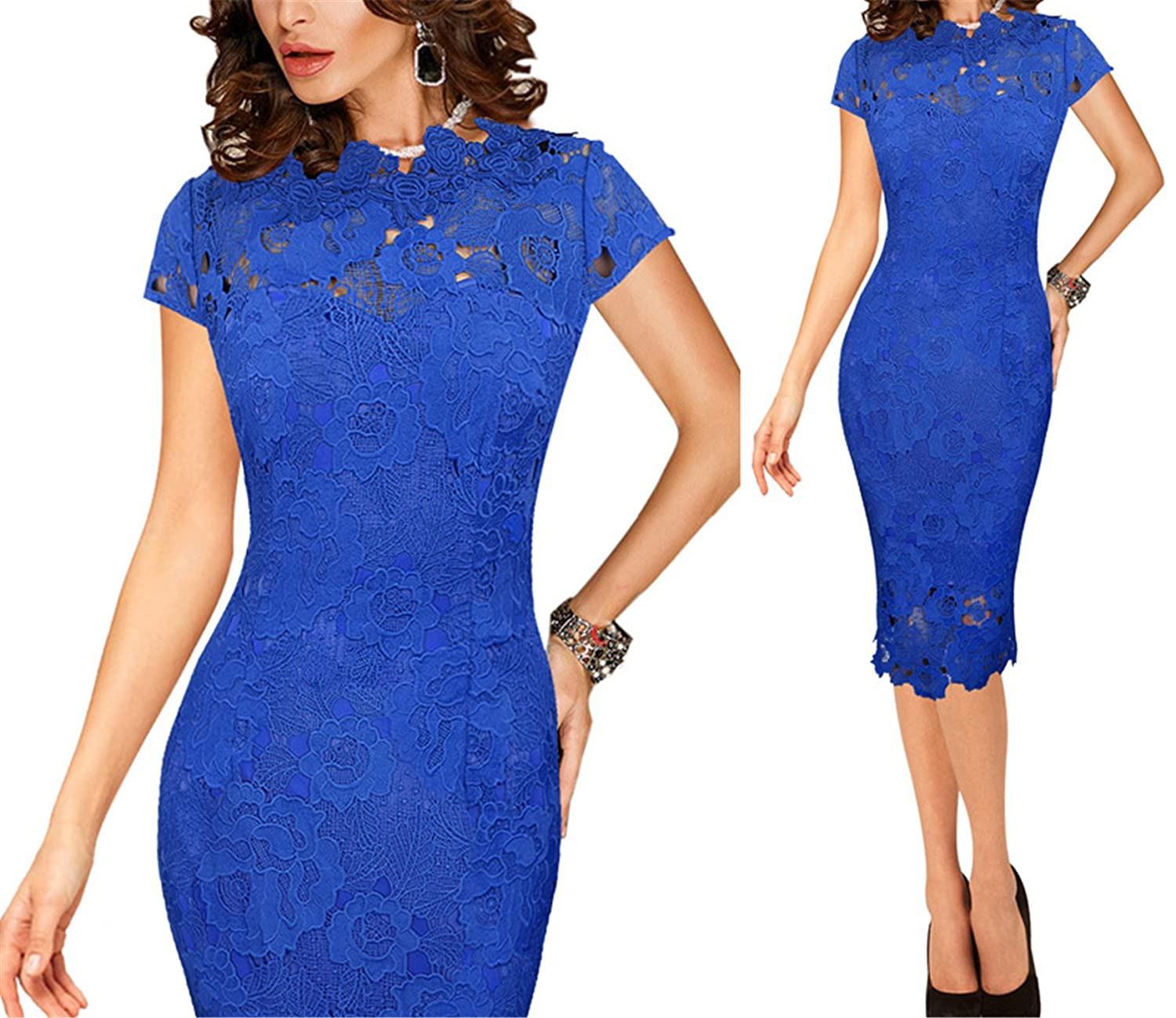 bluee 2 Ivan Johns Dresses Elegant Sexy Crochet Hollow Out Pinup Party Evening Special Occasion Sheath Fitted Vestidos Dress 4272
