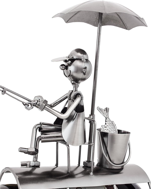 including Greeting Card! BRUBAKER Bottle Holder Angler with Sunshade Metal Sculpture