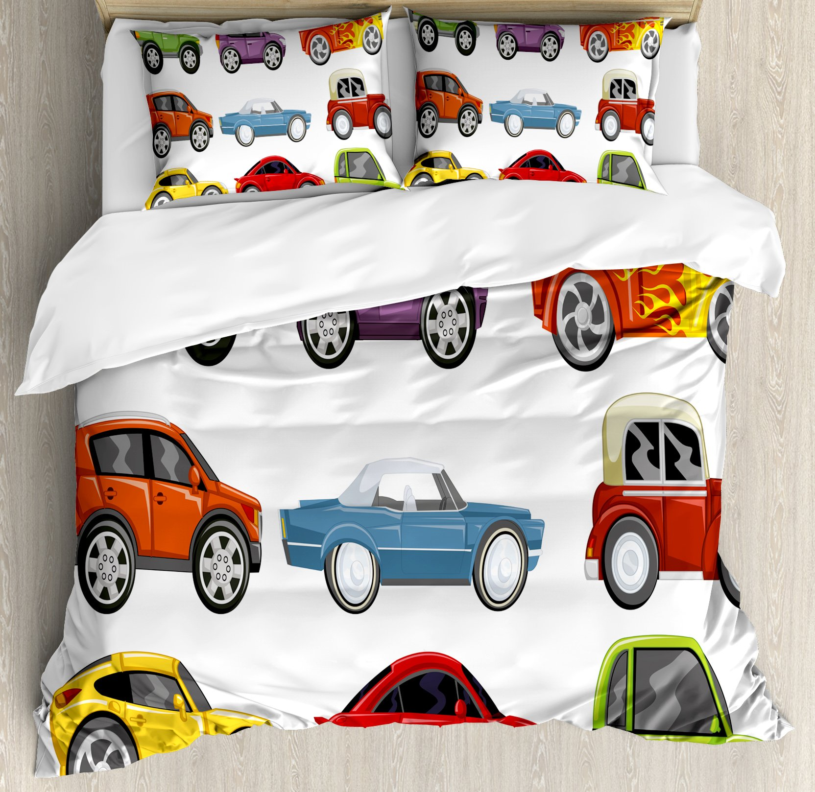 Boy's Room Duvet Cover Set King Size by Lunarable, Race Cars Monster Truck Classics Urban Jeep Artistic Speed Automobiles Print, Decorative 3 Piece Bedding Set with 2 Pillow Shams, Multicolor by Lunarable