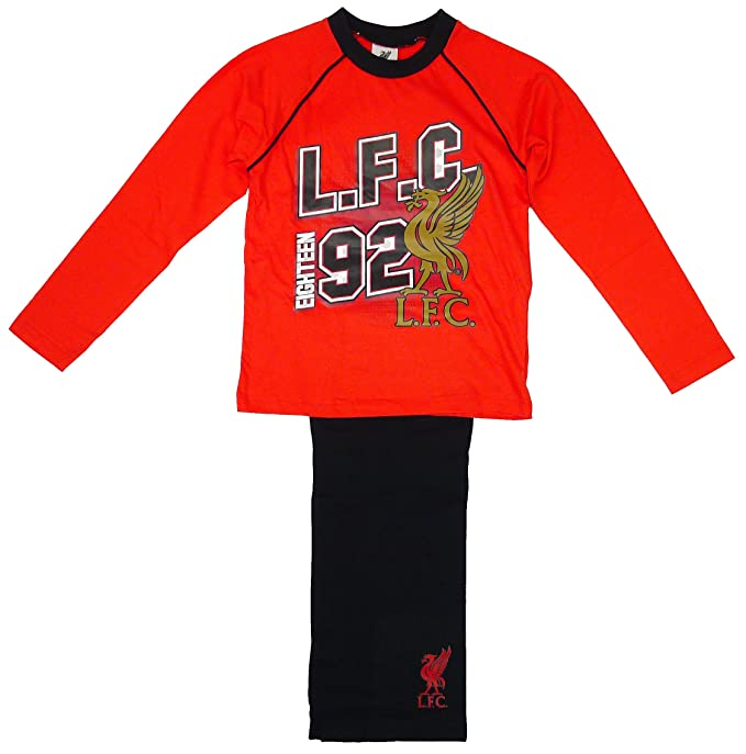 Niños Oficial LIVERPOOL LFC 92 Algodón Estampado Pijama Rojo tallas desde 4 a 12 Años -