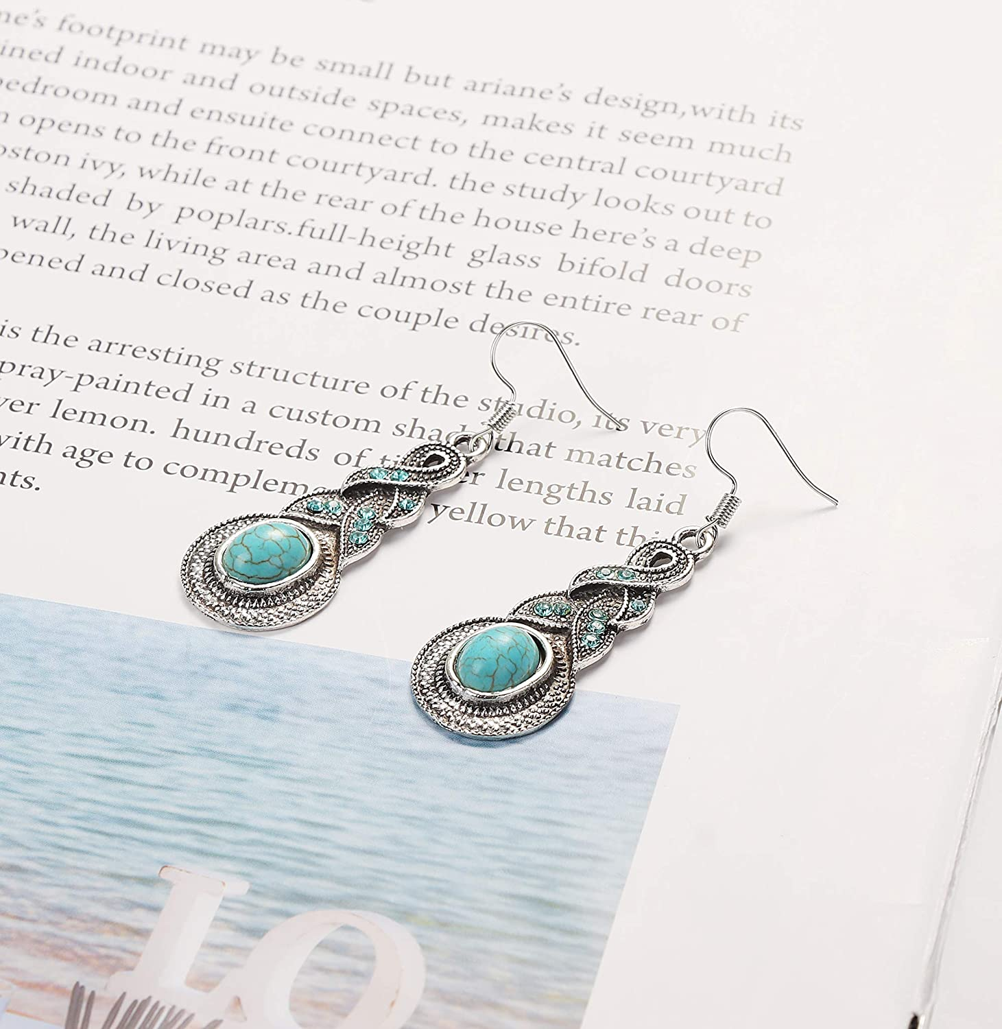 LOLIAS Womens Retro Turquoise Earrings Necklace Jewelry Set Fashionable Jewelry