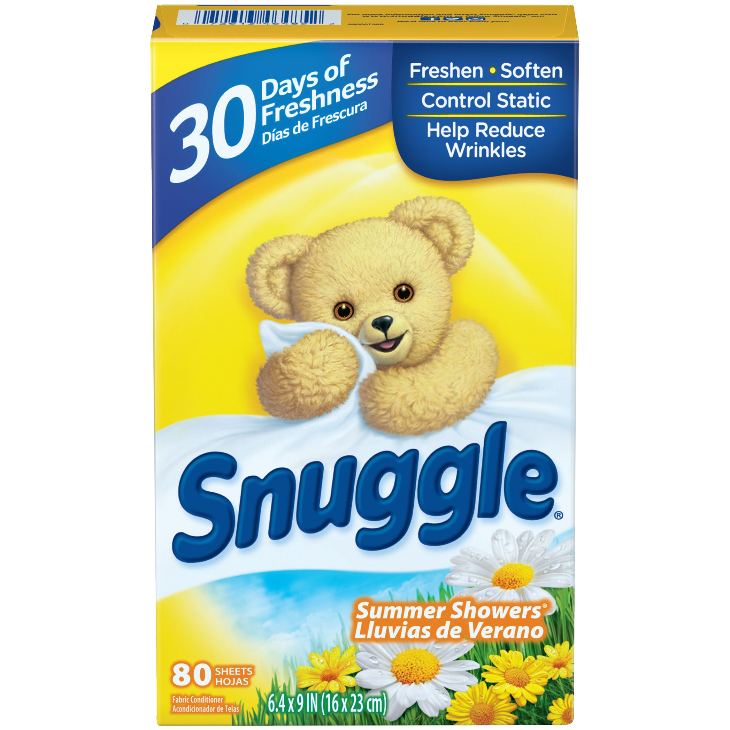 Snuggle Fabric Softener Dryer Sheets, Summer Showers, 80 Count (Pack of 9)