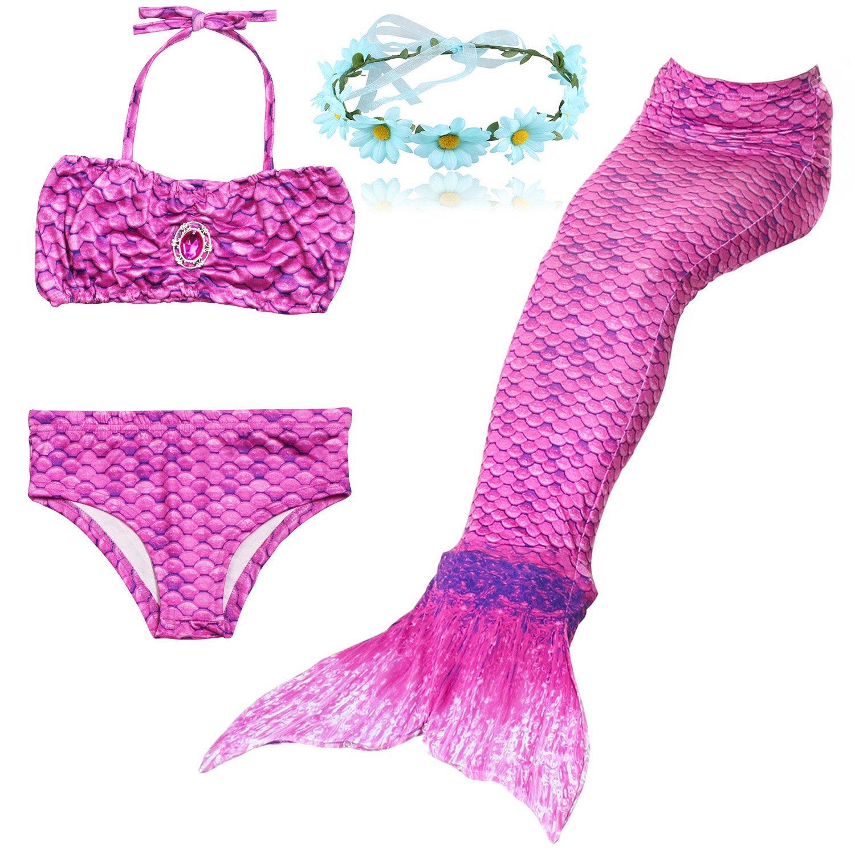 Shiny Toddler 3PCS Girls Swimmsuit Mermaid Tail for Swimming Fashion Bikini Set 9-10,Style3