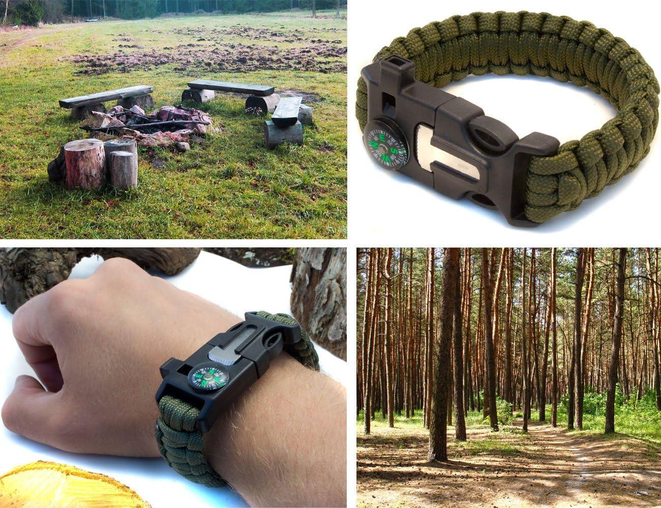 Pfeife Messer 4-in-1 Outdoor Survival Multi-Tool Paracord /Überlebens Armband olivgr/ün Schaber Kompass Outdoor Saxx/®