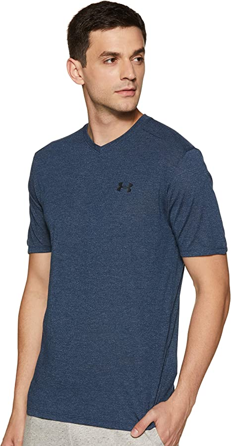 NEW UA Threadborne Siro V-Neck Men's Under Armour Short Sleeve Shirt Dark Grey M