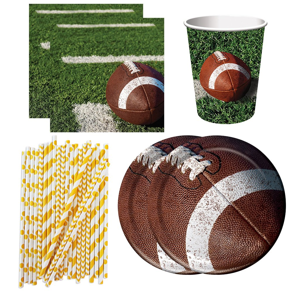 and Straws Creative Converting 92181 Lunch Plates Beverage Napkins Cups Football Tailgate Rush Party Pack for 16 Guests