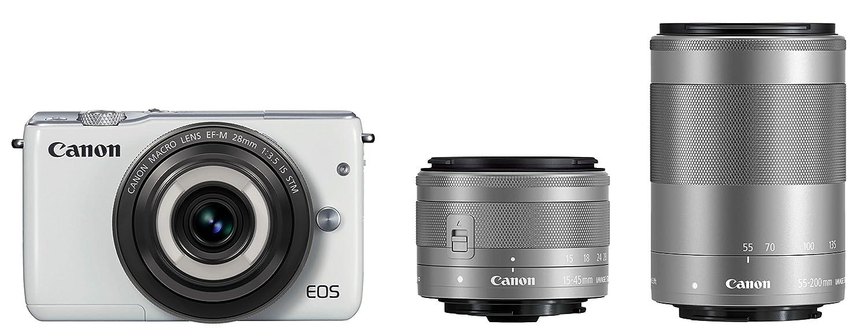 美品  Canon ミラーレス一眼カメラ EOS F4.5-6.3 M10(ホワイト)クリエイティブマクロ トリプルレンズキット 付属 EF-M28mm F3.5 IS STM STM EF-M15-45mm F3.5-6.3 IS STM EF-M55-200mm F4.5-6.3 IS STM 付属 EOSM10WH-CMTLK B016JZFST2 グレー 通常品 通常品|グレー|ダブルレンズキット, ハッピーブランド:32ab156d --- kilkennyhousehotel.ie