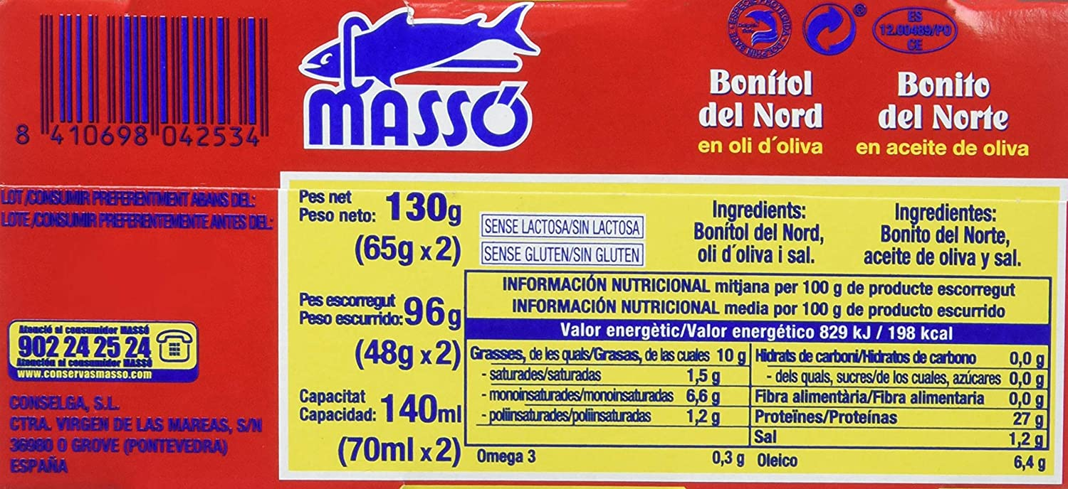 Masso - Bonito Aceite Oliva - Pack De 2 X 65 gr, Total: 130 gr: Amazon.es: Amazon Pantry