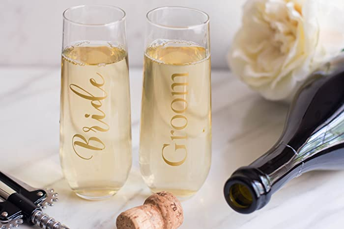 Amazon com: Gold Bride and Groom Wedding Champagne Toast