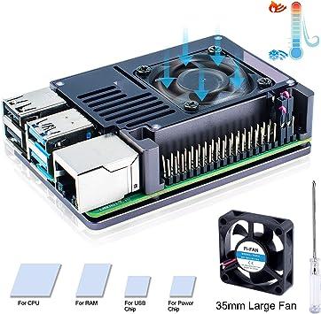 Bruphny Raspberry Pi 4 Caja, Raspberry Pi 4B Caja de Aluminio con ...