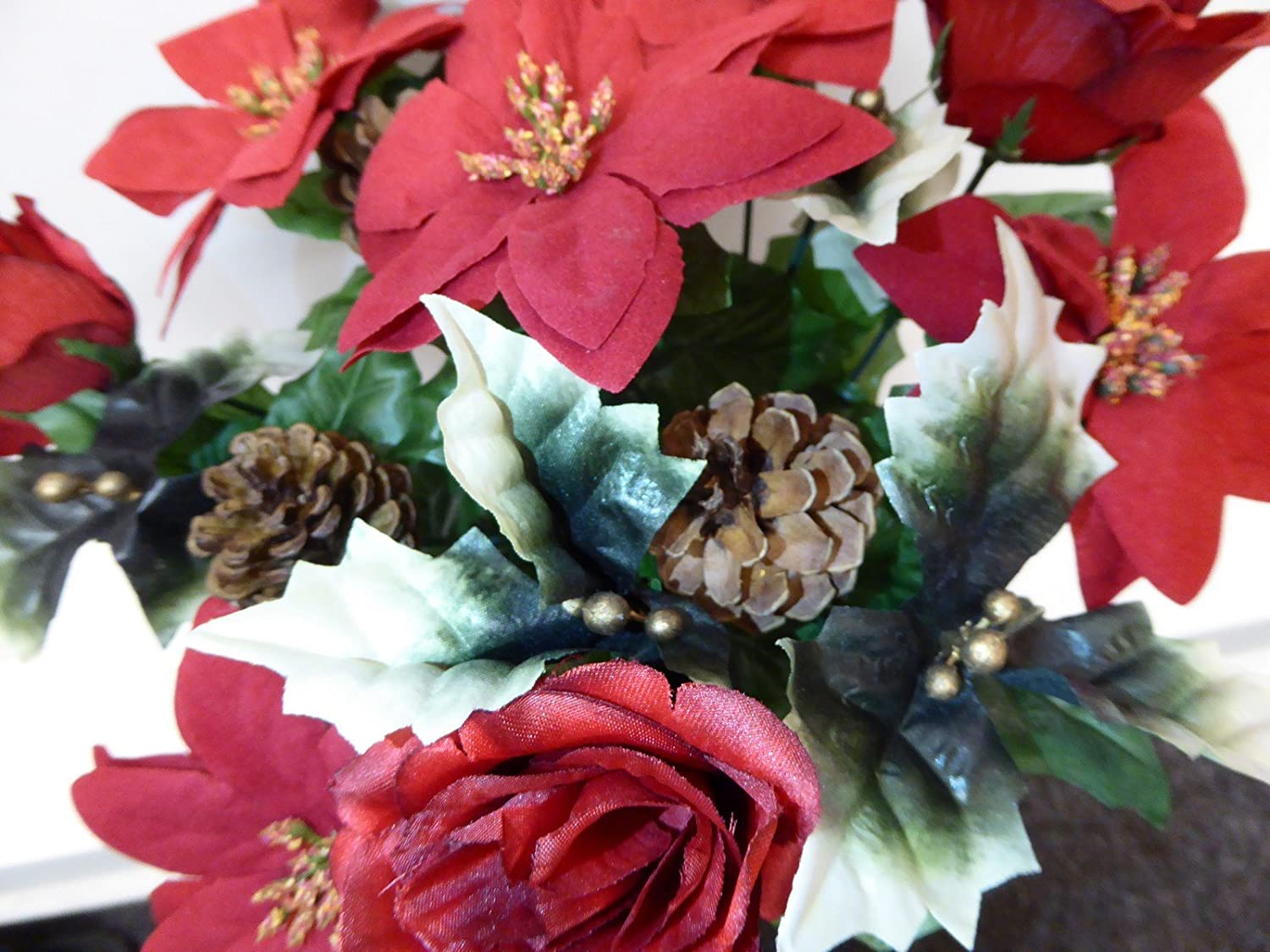Uk Gardens Red And Gold Christmas Poinsettia Holly Artificial Silk