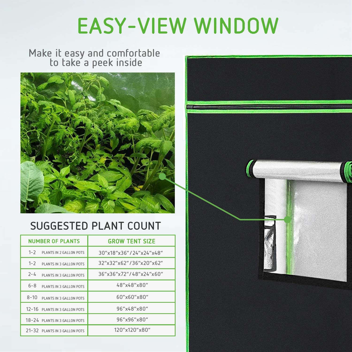 2018 Upgraded 36x36x72 Mylar Grow Tent with Observation Window and Removable Floor Tray for Hydroponic Indoor Plant Seedling Growing