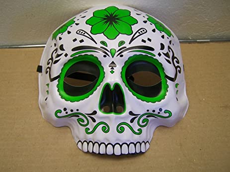 dia de los muertos day of the dead sugar skull halloween mask green