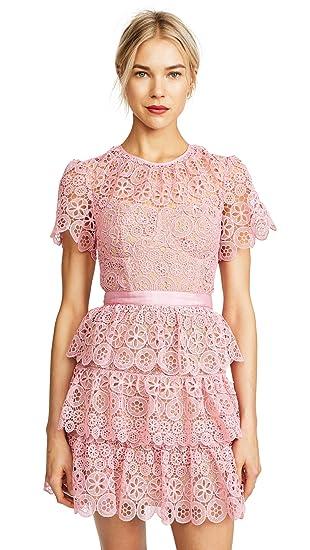 8e2a44dfcf88 Amazon.com: Self Portrait Women's Tiered Lace Mini Dress: Clothing