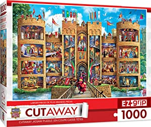 MasterPieces EZGrip Cut-Aways Extra Large Jigsaw Puzzle, Medieval Castle, Featuring Art by Steve Crisp, 1000 Pieces,Assorted