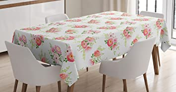 Shabby Chic Tablecloth by Ambesonne, Nostalgic Elegance Themed Bunch of  Magnolia Buds Rococo Poetic Fresh
