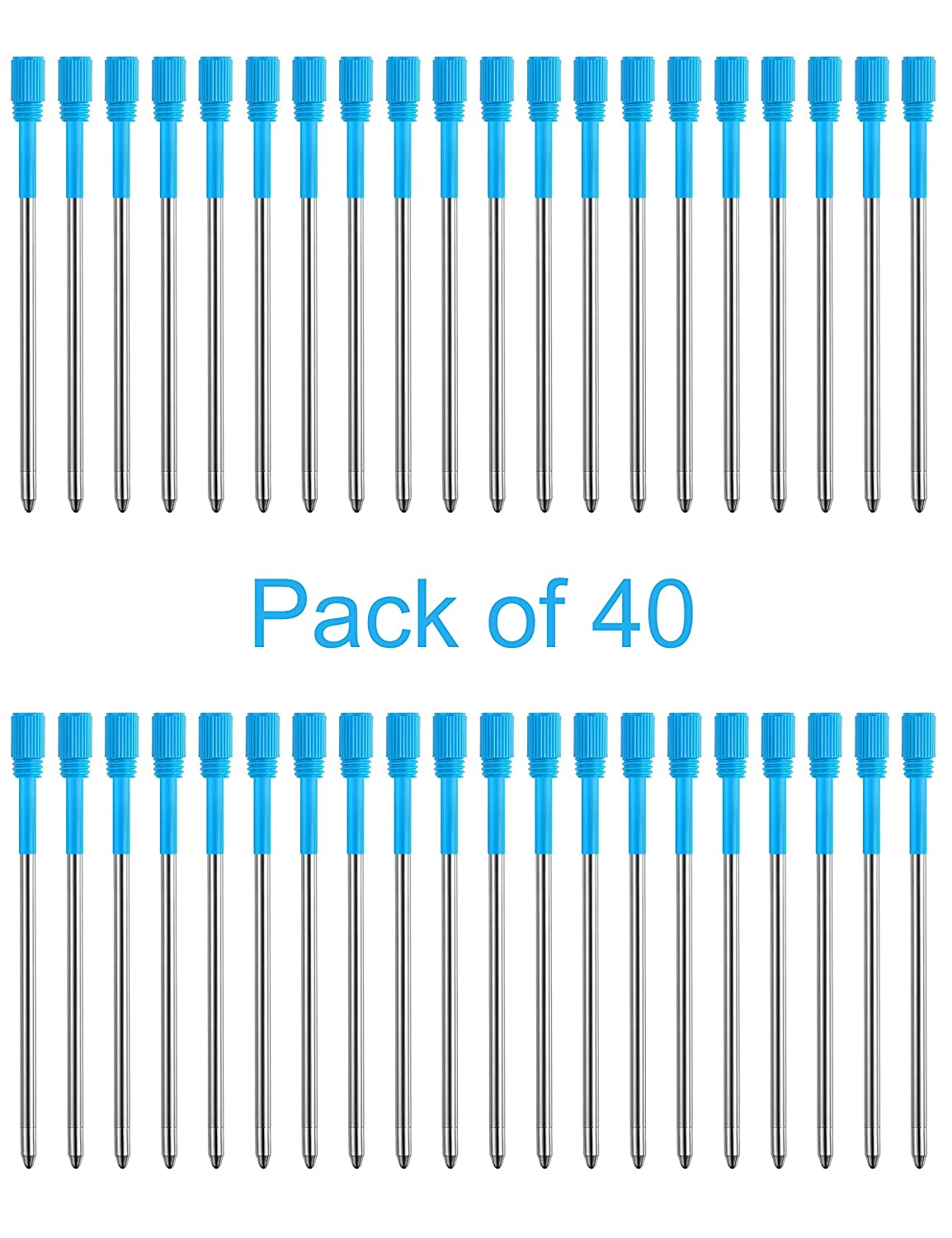 """Pen Refills Replacement Ballpoint 3.2'' inch (can be cut into 2.75"""") for Pens with Big Diamond Crystal on Top Diamond Crystal Stylus Pens Metal Refill in Storage Case Blue Ink Pack of 40"""
