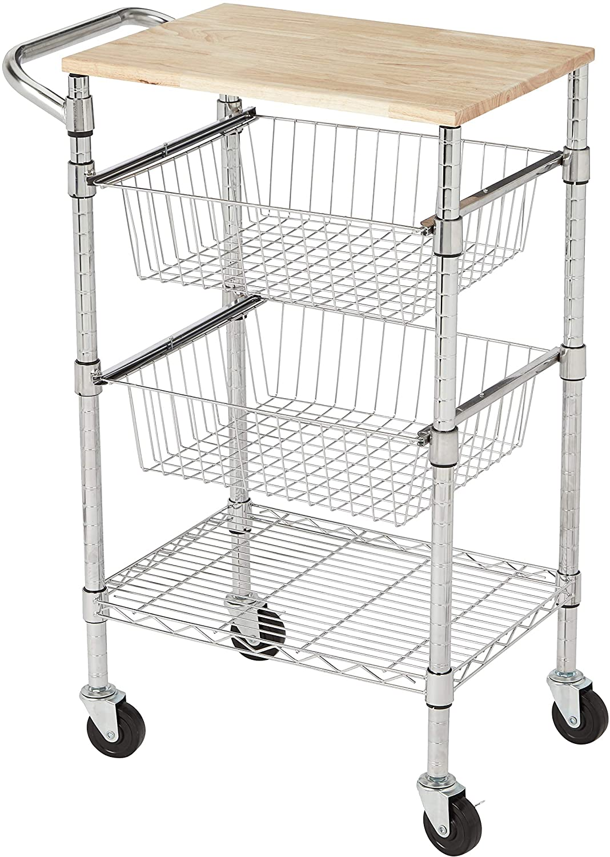 AmazonBasics - Carro con cestas metálicas, de 3 niveles, con tapa de madera