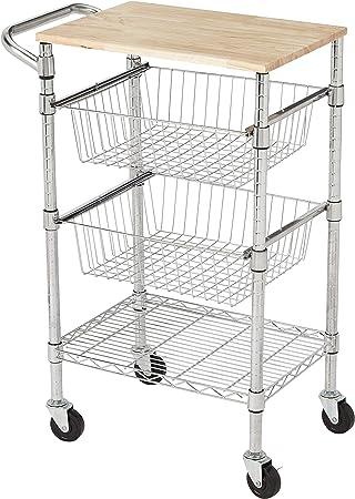 de 3 niveles Carro con cestas met/álicas con tapa de madera Basics