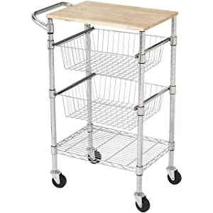 AmazonBasics 3-Tier Metal Basket Rolling Cart with Wood Top