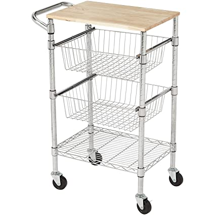 c0b57a6cb12d AmazonBasics 3-Tier Metal Basket Rolling Cart with Wood Top
