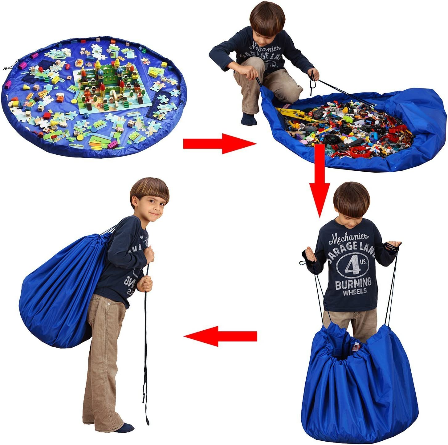 Foldable Clean Up Rug for Home and Outdoor Ferryman Toy Storage Bag Kids Rug Child Toy Organizer ,60 inch Play and Go Portable for Lego Building Block blue