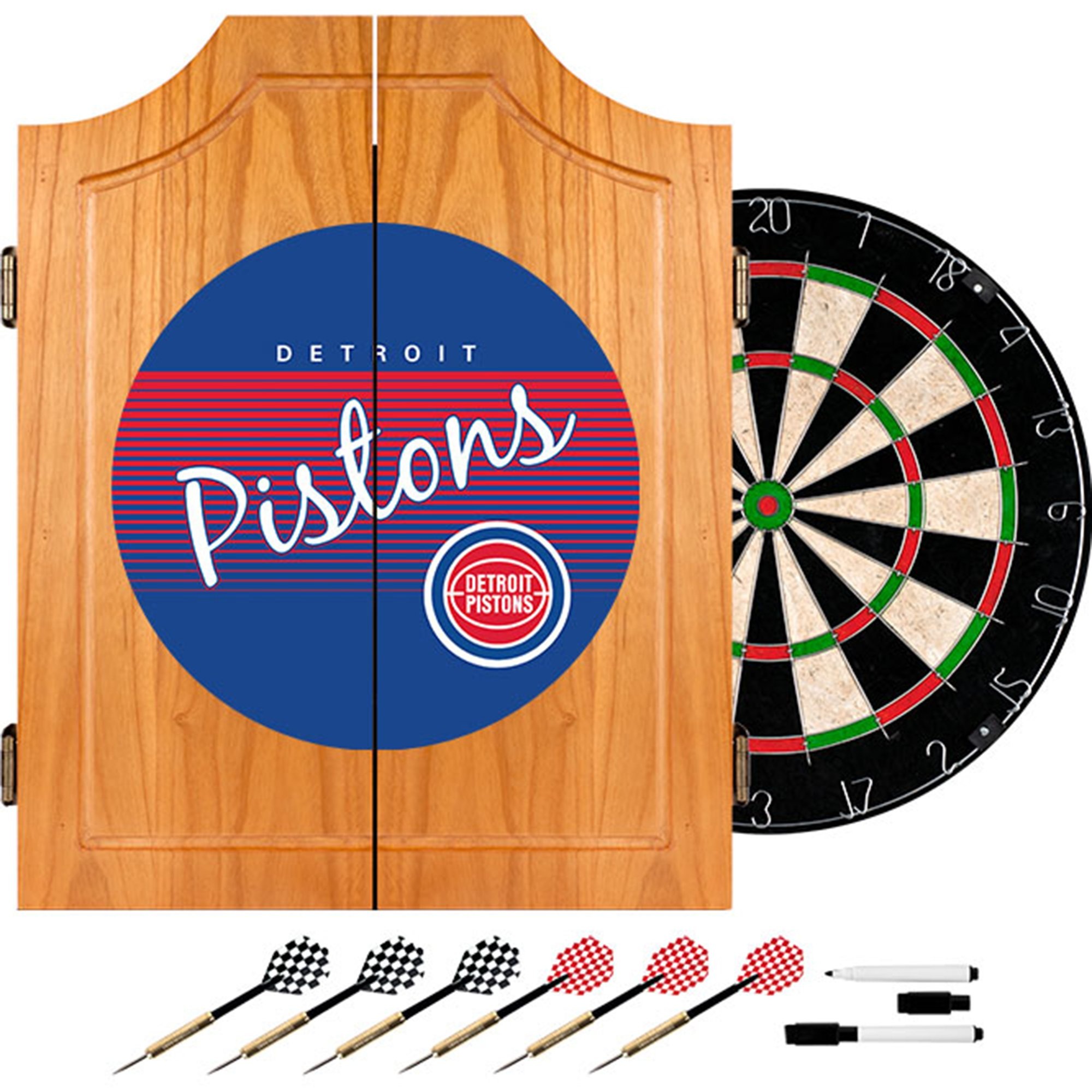 Trademark Global NBA Detroit Pistons Wood Dart Cabinet, One Size, Brown