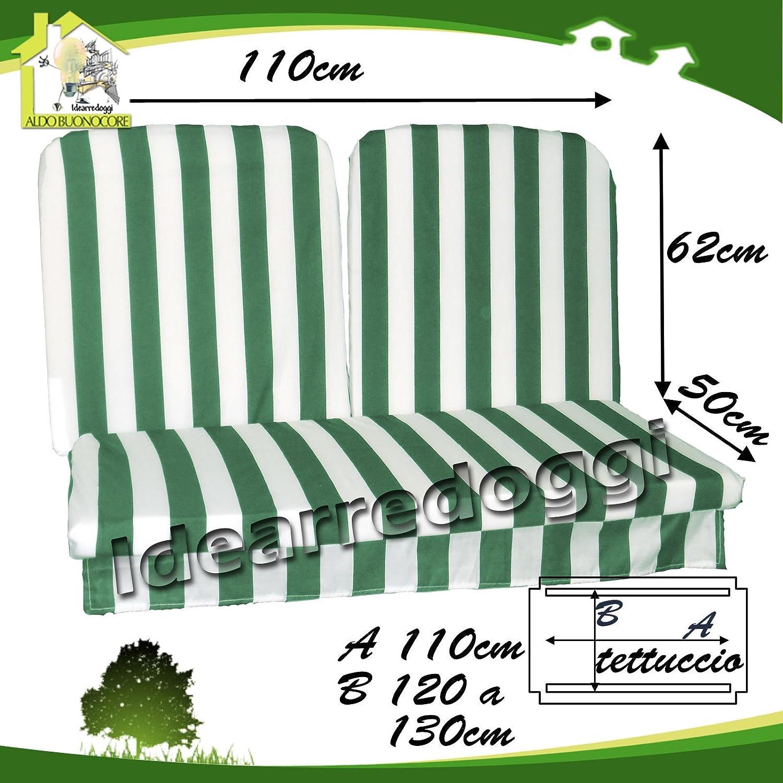 Buonocore Aldo  Nuove Idee  Cuscino per Dondolo 2 posti lastra 110 Cm Bianco verde