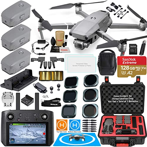 DJI Mavic 2 PRO Drone Quadcopter with DJI Smart Controller W Touch Screen Display and Fly More Kit Bundle with 3 Batteries, Rugged Carry Case, Filter Set Must Have Accessories 12 Items