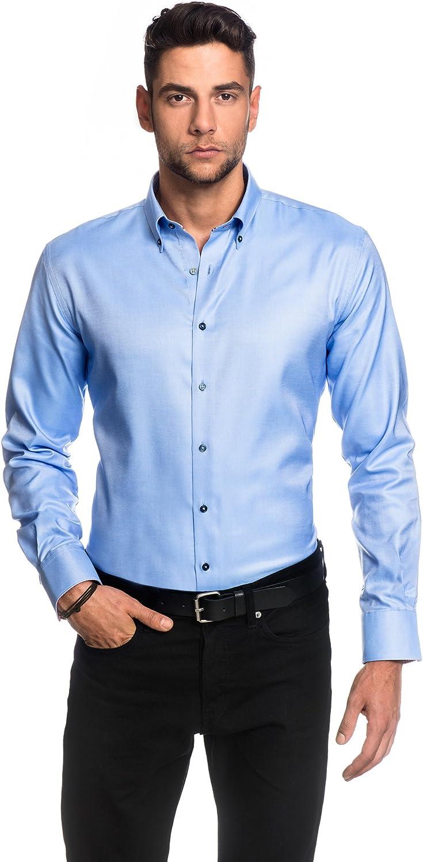 EMBRAER Camisa de Hombre, Ajustada Entallada (Slim-fit), Oxford, 100% algodón, Manga-Larga, Cuello Kent, Lisa - fácil de Planchar Azul Hielo 37/38: Amazon.es: Ropa y accesorios