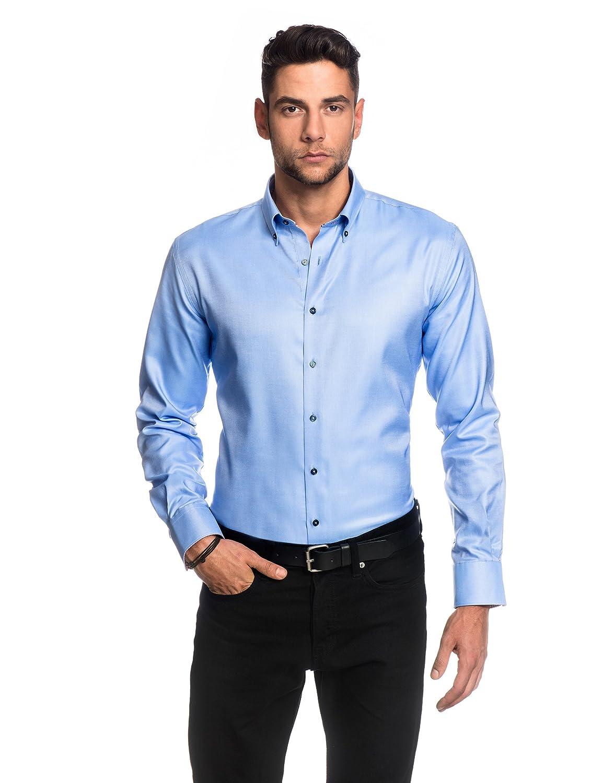 TALLA 37/38. Embraer Camisa de Hombre, Ajustada Entallada (Slim-fit), Oxford, 100% algodón, Manga-Larga, Cuello Kent, Lisa - fácil de Planchar