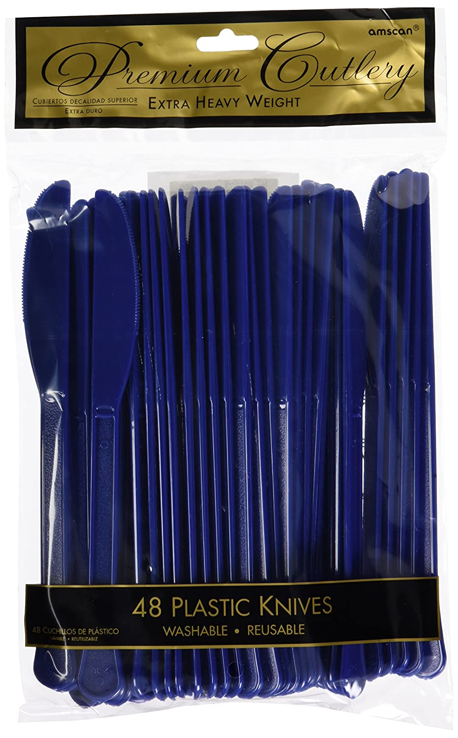 Amazon.com: Amscan Reusable Party Heavy Weight Plastic Knives Cutlery,Saver Pack of 12 (Each Includes 48 Pieces), Made of Plastic, Navy Blue: Toys & Games