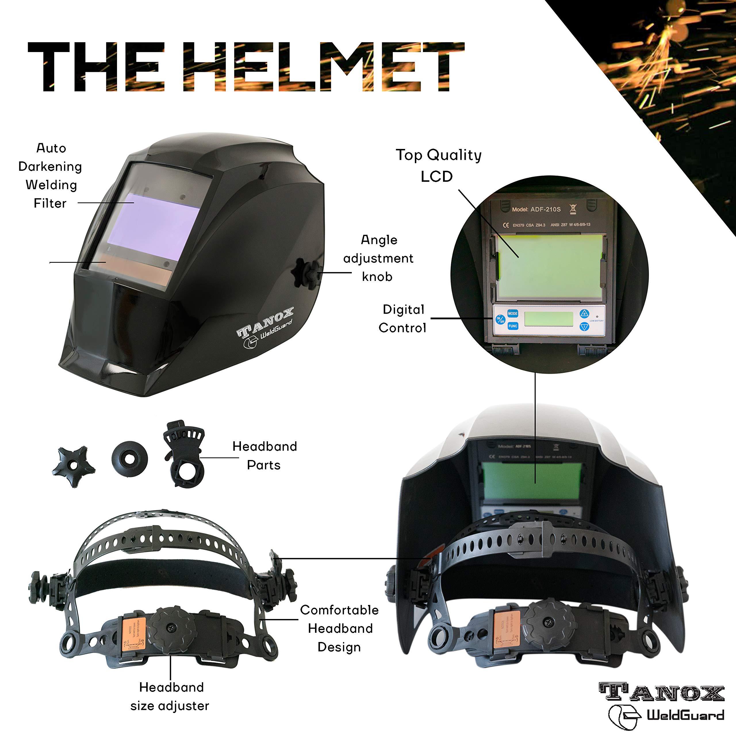 Digital Display auto Darkening Solar Powered Welding Helmet ADF-210S, Solar Shade Lens, Tig Mig MMA, Adjustable Range 4/9-1316 Bonus 16'' Fire Retardant Welding Gloves, Carrying Bag and spare lens by Tanox (Image #4)