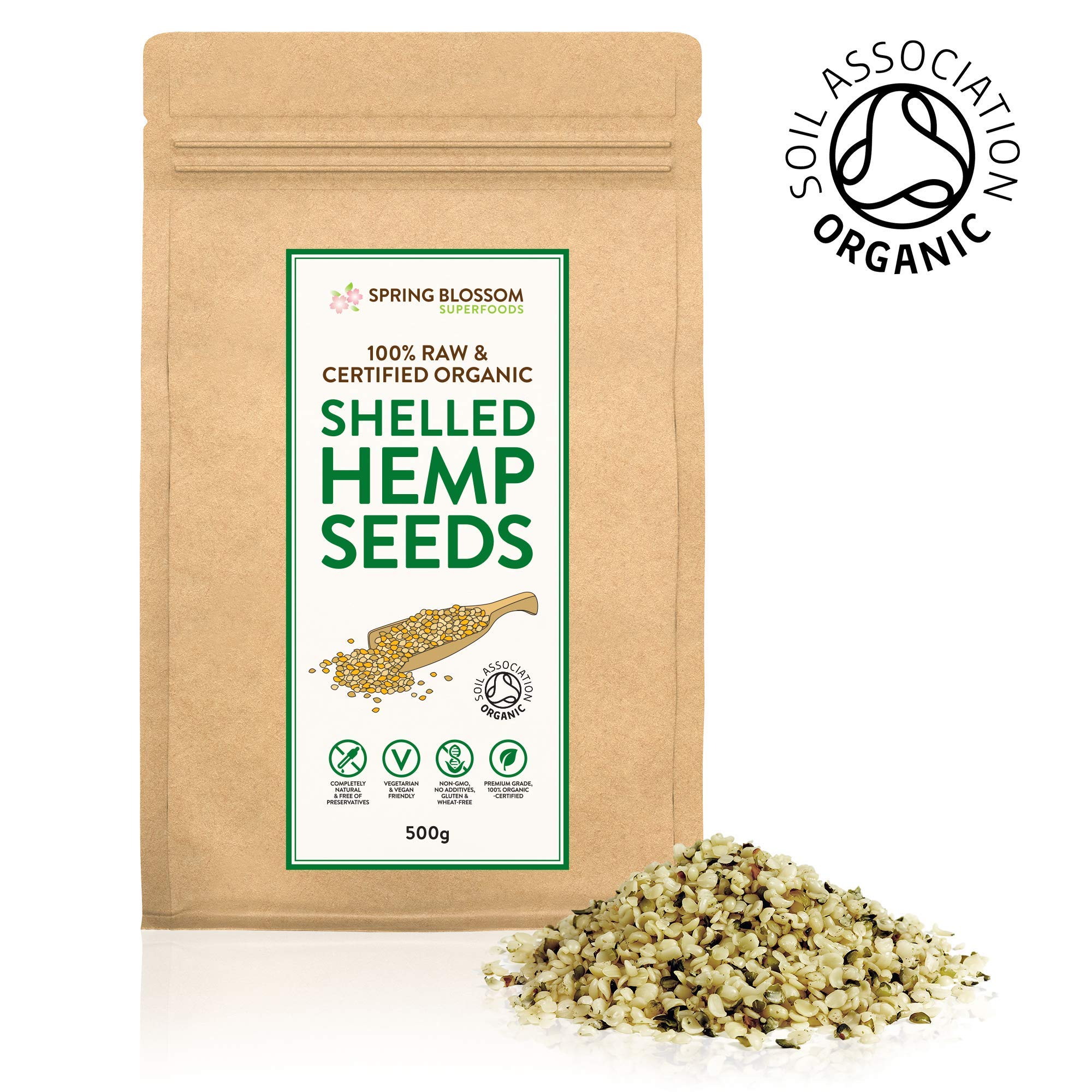 500g Raw Organic Shelled (Hulled) Hemp Seeds Hearts Healthy Snack Rich in Protein, Omega 3 & 6, Amino Acids and Minerals, Gluten-Free, Vegan, Superfood in Resealable Pouch, Soil Association Certified