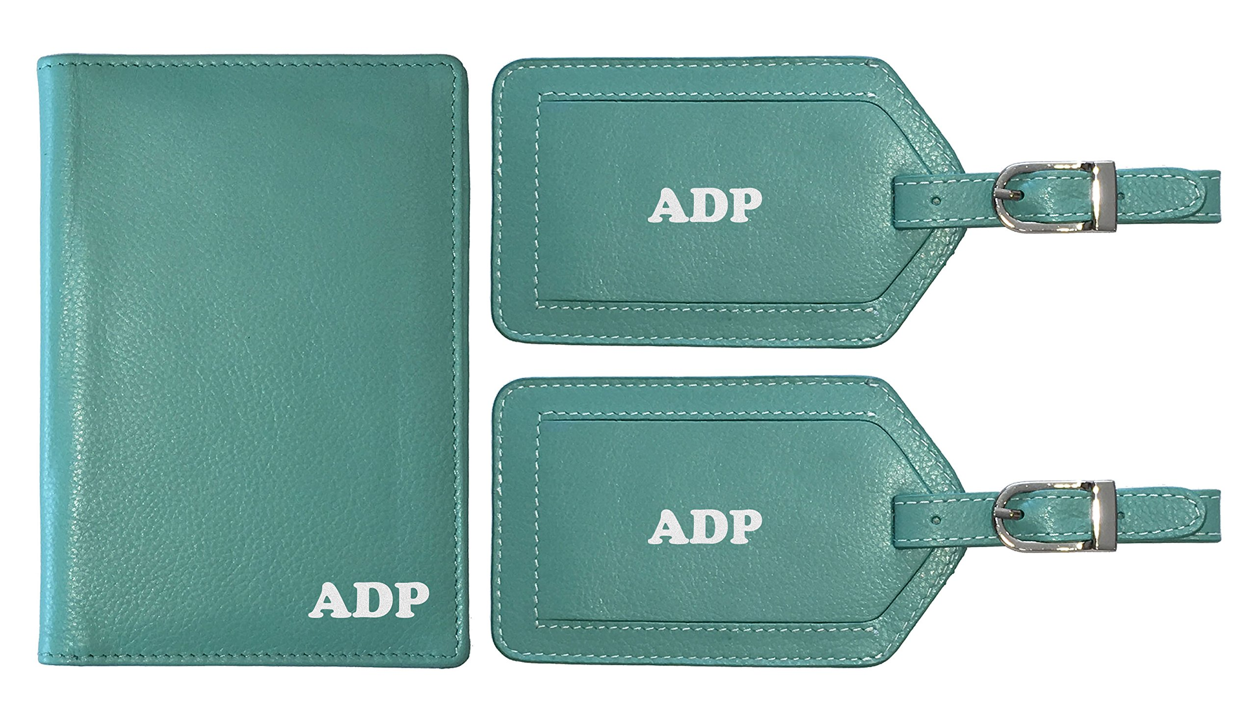 Personalized Monogrammed Turquoise Leather RFID Passport Wallet and 2 Luggage Tags