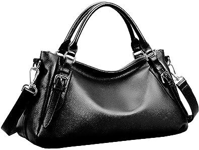 77bfa63f46d Obosoyo Women s Handbag Genuine Leather Tote Shoulder Bags Soft Hot Black