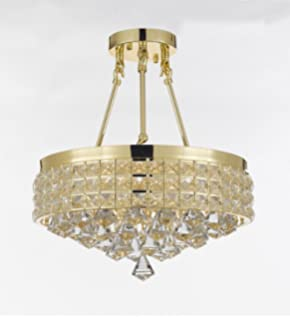 Gold finish crystal chandelier with 4 lights lighting amazon semi flush mount french empire crystal chandelier chandeliers lighting ht 17 x wd 15 aloadofball Gallery