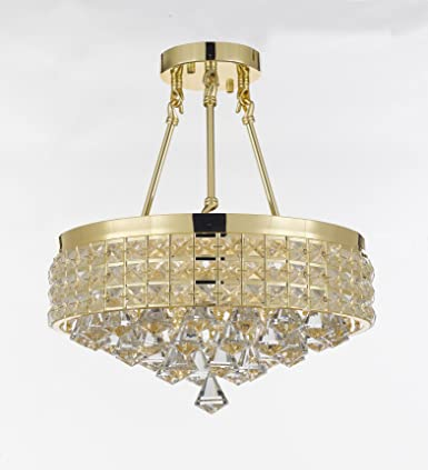 Semi Flush Mount French Empire Crystal Chandelier Chandeliers Lighting , Ht 17 X Wd 15 , 4 Lights , Crystal Gold Metal Shade flushmount
