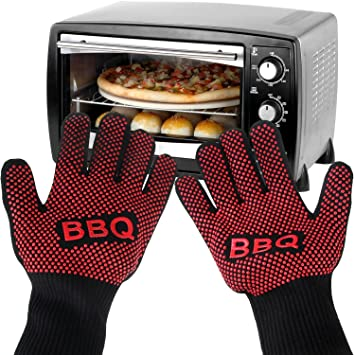 pupow guantes del horno resistente al calor guantes de cocina para barbacoa mitones caliente horno mejores