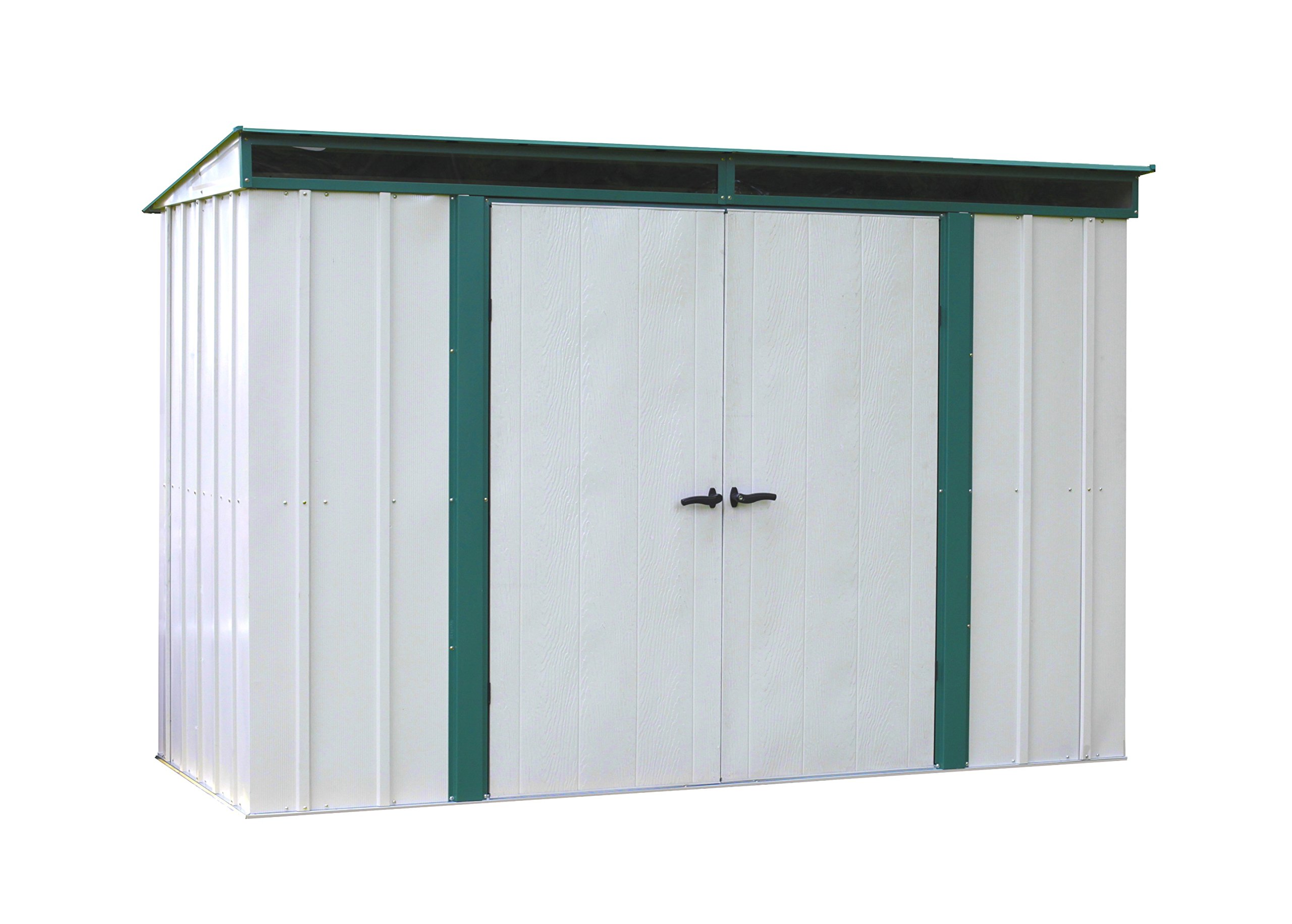 Arrow Euro-Lite Steel Storage Pent Shed, Green/Eggshell, 10 x 4 ft. by Arrow