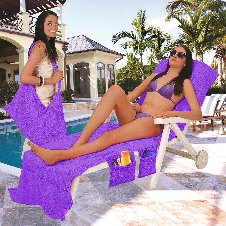 Vinsani Chaise longue Serviette de plage Sac de transport avec poches pour Vacances Jardin d/ét/é Microfibre Navy With Stars Onesize