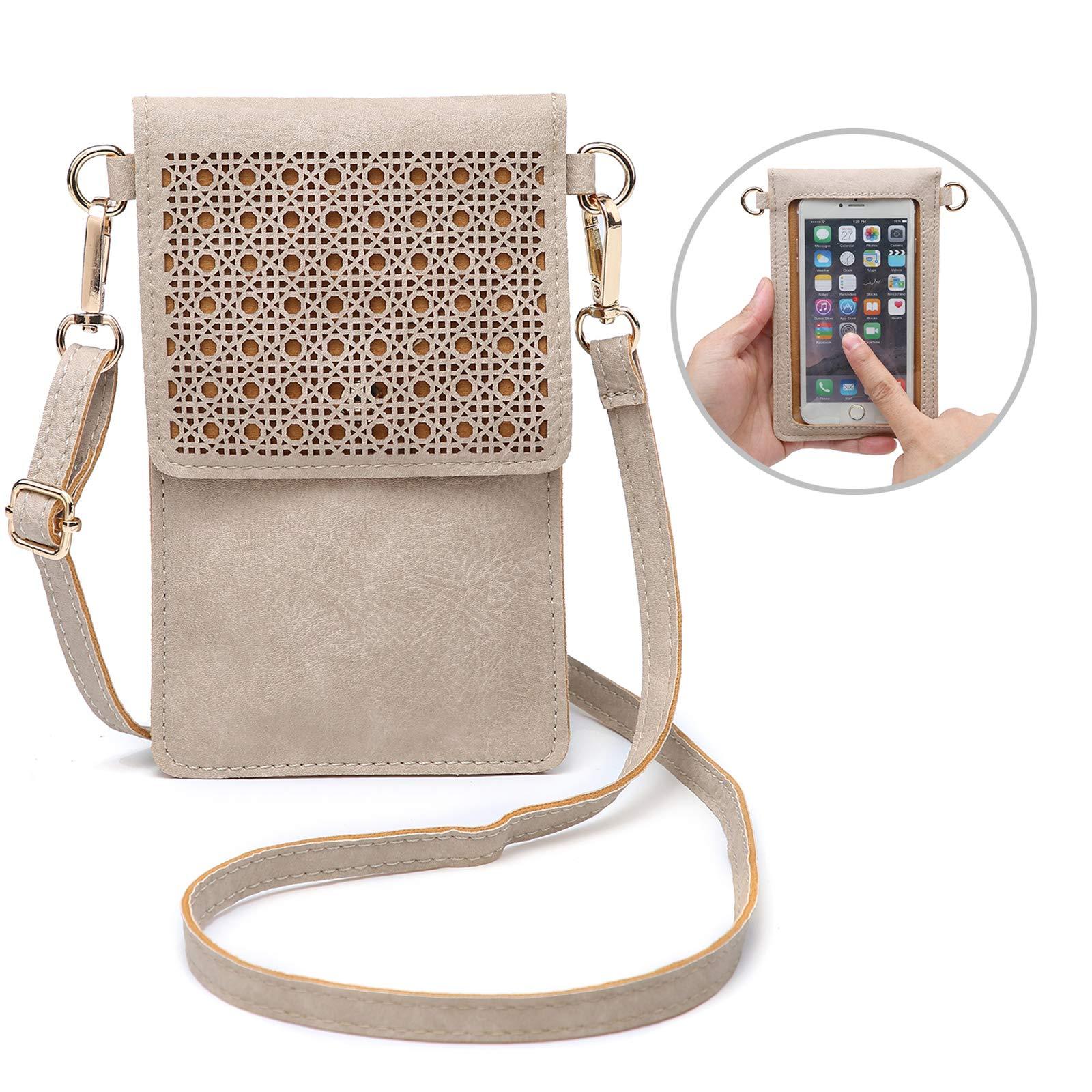 seOSTO Small Crossbody Bag Cell Phone Purse Wallet with 2 Shoulder Strap Handbag for Women Girls (Beige) …