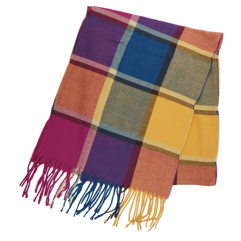 Purple Magenta Large Square Unisex Plaid Cashmere Feel Winter Scarf 7 Comets