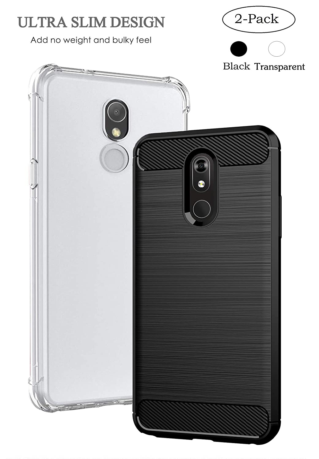 Sfmn 2-Pack Case for LG Stylo 5 Case Carbon Fiber Brushed Texture Soft TPU Full-Body Protective Cover Phone Case for LG Stylo 5 Phone Case (Black+Clear)