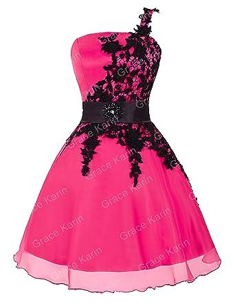 7f2f36702 Vestido Rosa Sin Mangas Solo Hombro Lace Vestido De Moda Juvenil Vestido  Moderno 34  Amazon.es  Ropa y accesorios