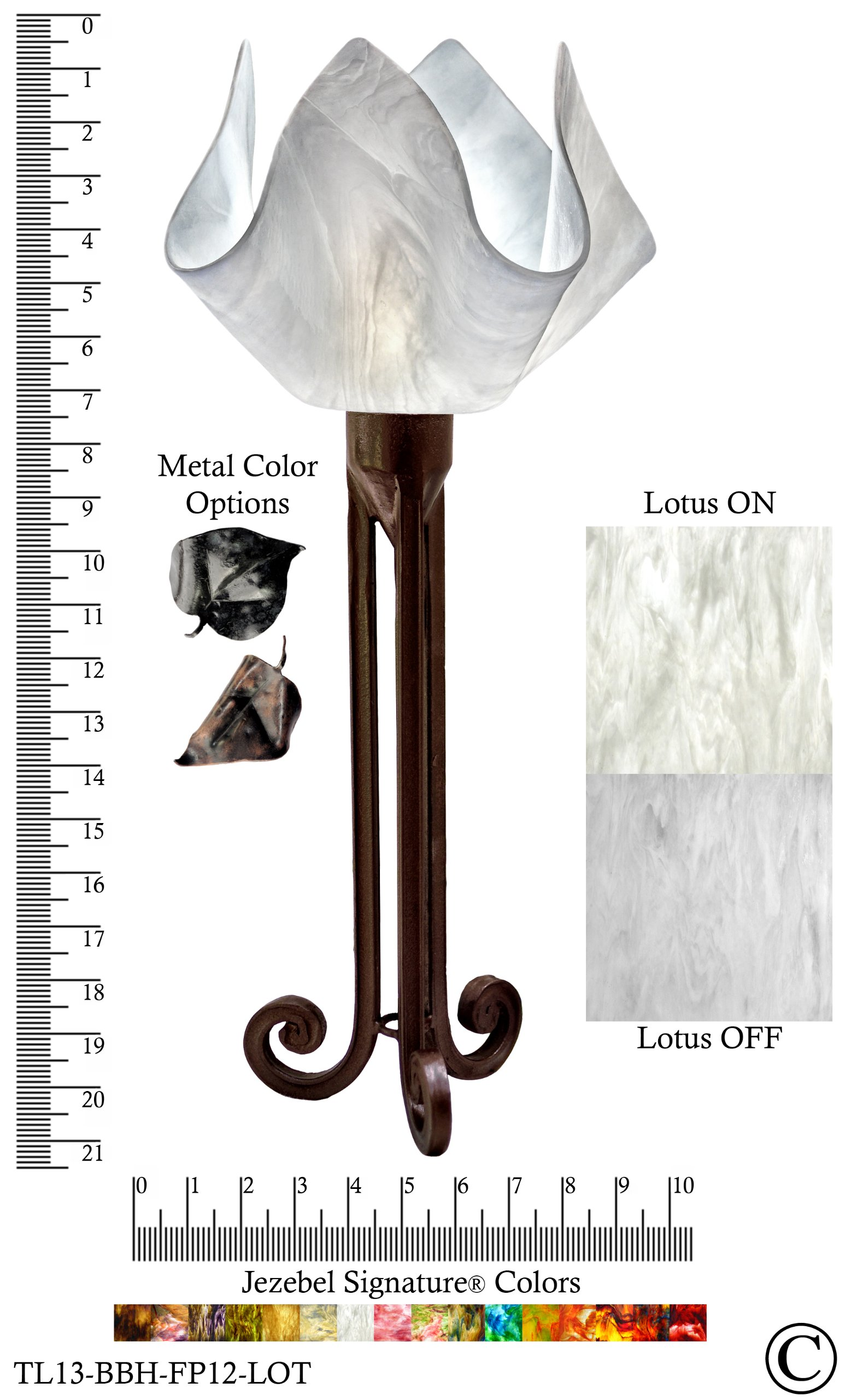 Jezebel Signature® Torch Light. Hardware: Brown with Brown Highlights. Glass: Lotus, Flame Style by Jezebel