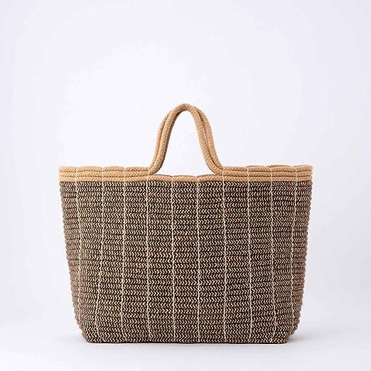 Riviera - Bolso de Playa de Yute y algodón marrón marrón marrón: Amazon.es: Hogar