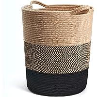 INDRESSME Large Jute Rope Basket - Tall Laundry Basket Hamper for Dirty Clothes Woven Jute Storage Basket for Blanket in…